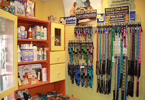 We offer dog, cat, and pet food, collars, over the counter medications, toys, and beds for your pet to enjoy